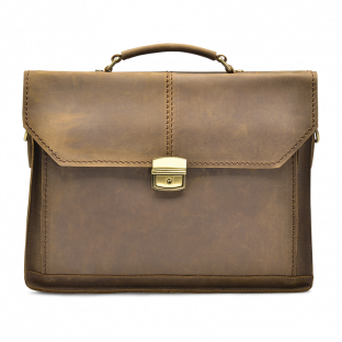 CARTABLE CUIR VINTAGE OCRE CALLIE. - 1